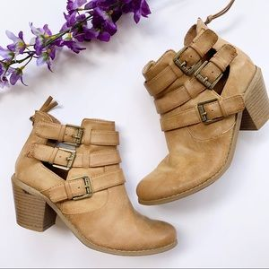 Guess Tan Buckle Ankle Booties Size 6